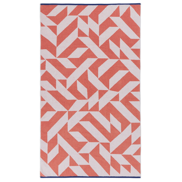 Arua beach towel, papaya & white & ultramarine, 100% cotton