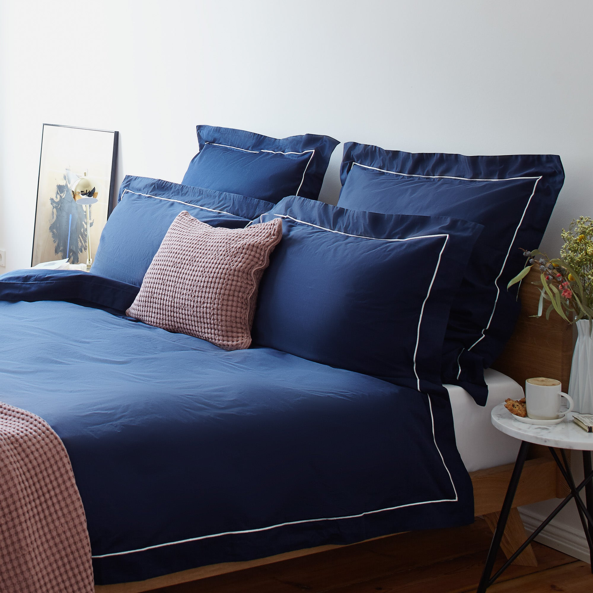 Karakol Bed Linen in dark blue & natural white | Home & Living inspiration | URBANARA