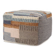 Brahmani Wool Pouffe dark blue & light blue & mustard, 90% wool & 10% cotton