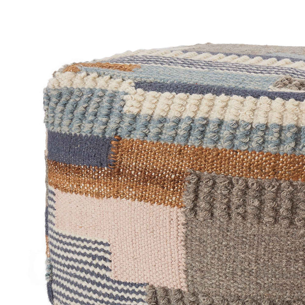 Brahmani Wool Pouffe dark blue & light blue & mustard, 90% wool & 10% cotton | URBANARA stools & poufs