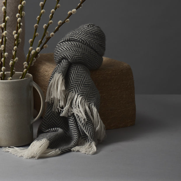 Nerva Cashmere Scarf in charcoal & cream | Home & Living inspiration | URBANARA