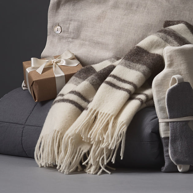Kampai Wool Blanket in cream & grey | Home & Living inspiration | URBANARA