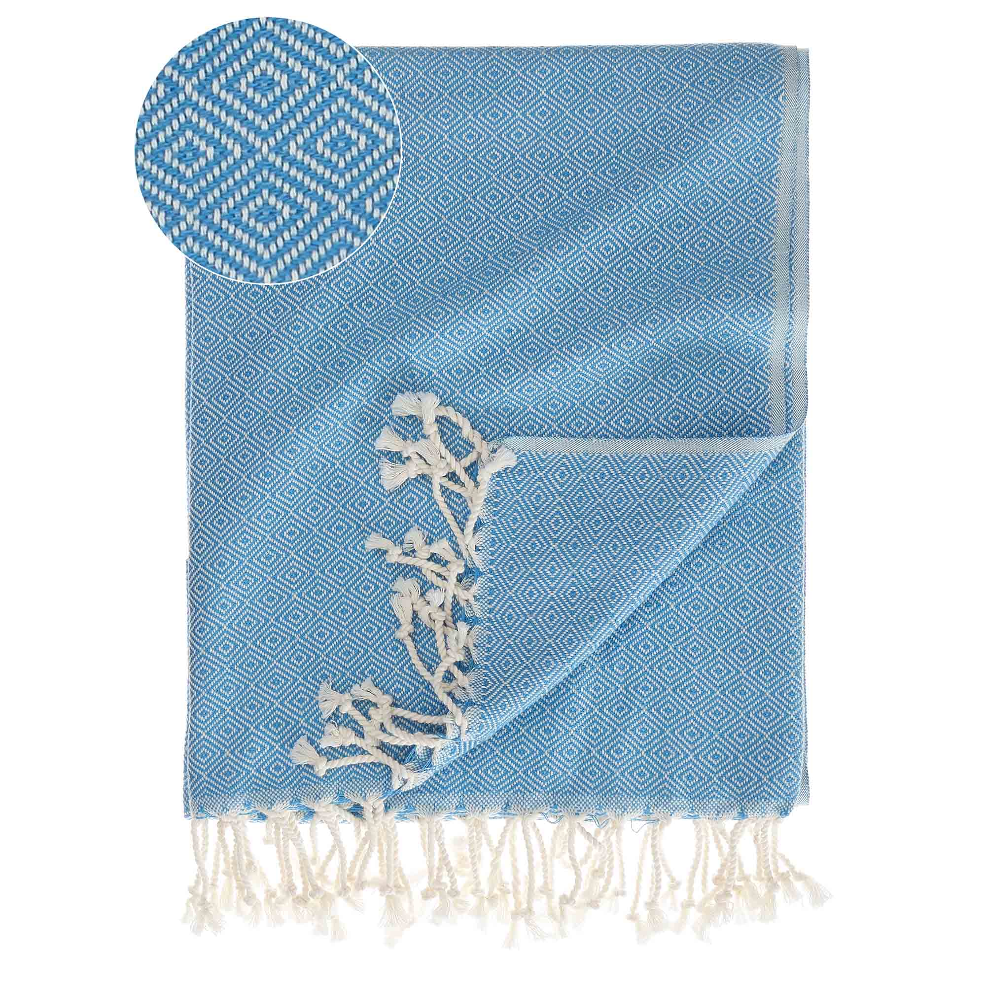 Cesme Hammam Towel light blue & white, 100% cotton