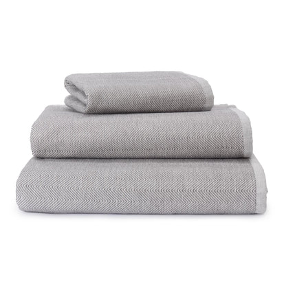 Ilhavo Towel charcoal & natural white, 100% organic cotton