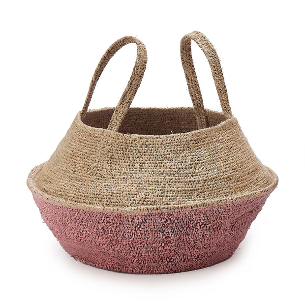 Kangto storage, natural & pink, 100% seagrass