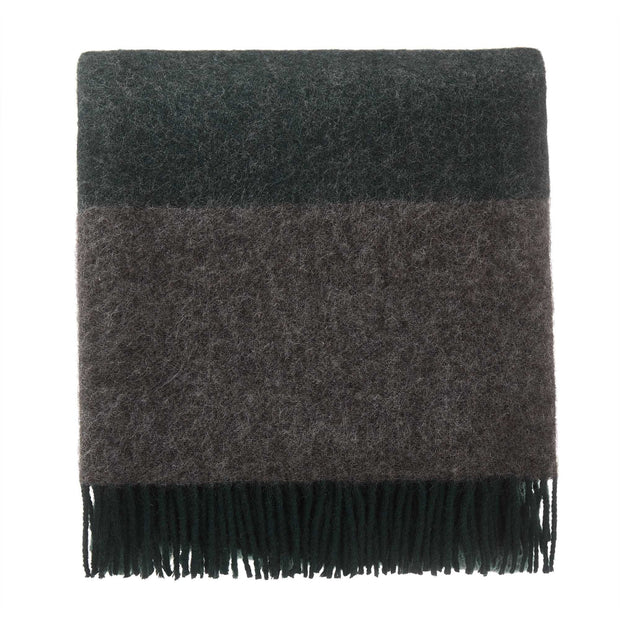 Karby blanket, dark green & grey melange, 100% new wool