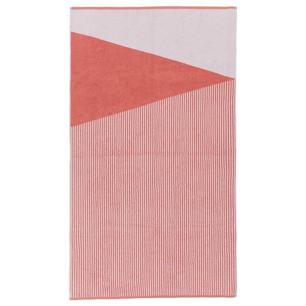Lalin beach towel, papaya & white, 100% cotton