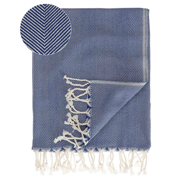 Laza Hammam Towel ultramarine & white, 100% cotton