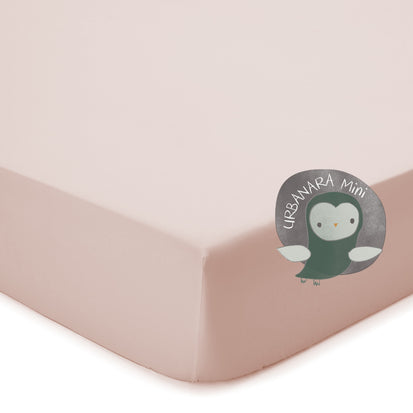 Manteigas Mini Percale Fitted Sheet light pink, 100% organic cotton