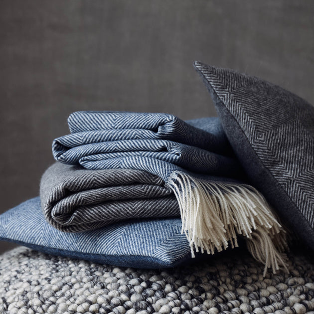 Alanga Alpaca Blanket in denim blue & off-white | Home & Living inspiration | URBANARA