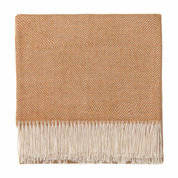 Alanga blanket, mustard & off-white, 100% baby alpaca wool |High quality homewares
