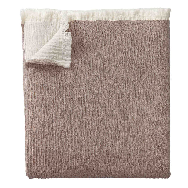 Anaba Bedspread terracotta & natural white, 100% cotton