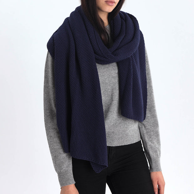Antua scarf, dark blue, 100% cotton