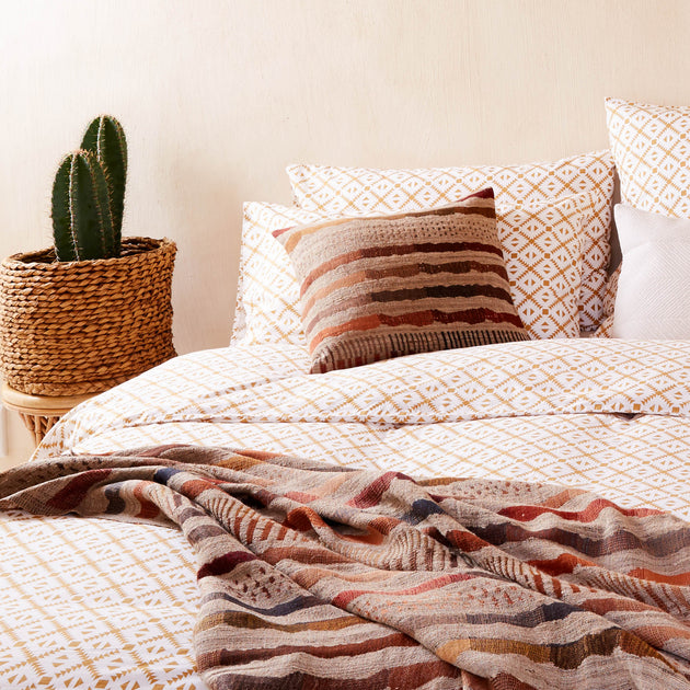 Arouca Bed Linen in white & mustard | Home & Living inspiration | URBANARA