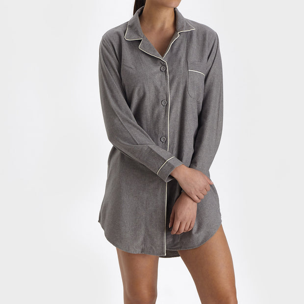 Arove Nightshirt stone grey & natural white, 100% organic cotton