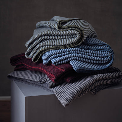 Azoia Blanket in grey blue & light grey blue | Home & Living inspiration | URBANARA