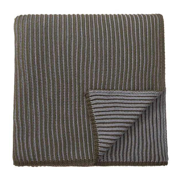 Azoia blanket, olive green & silver grey, 100% organic cotton