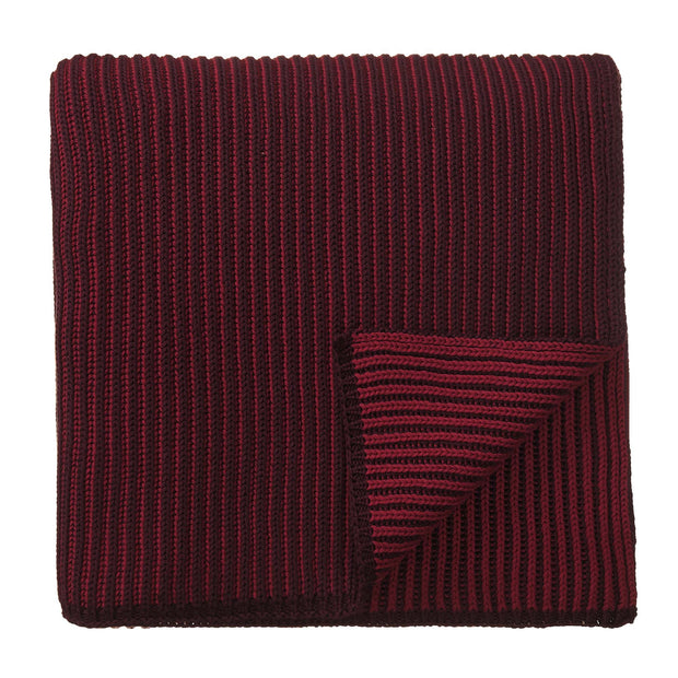 Azoia Blanket bordeaux red & dark red, 100% organic cotton