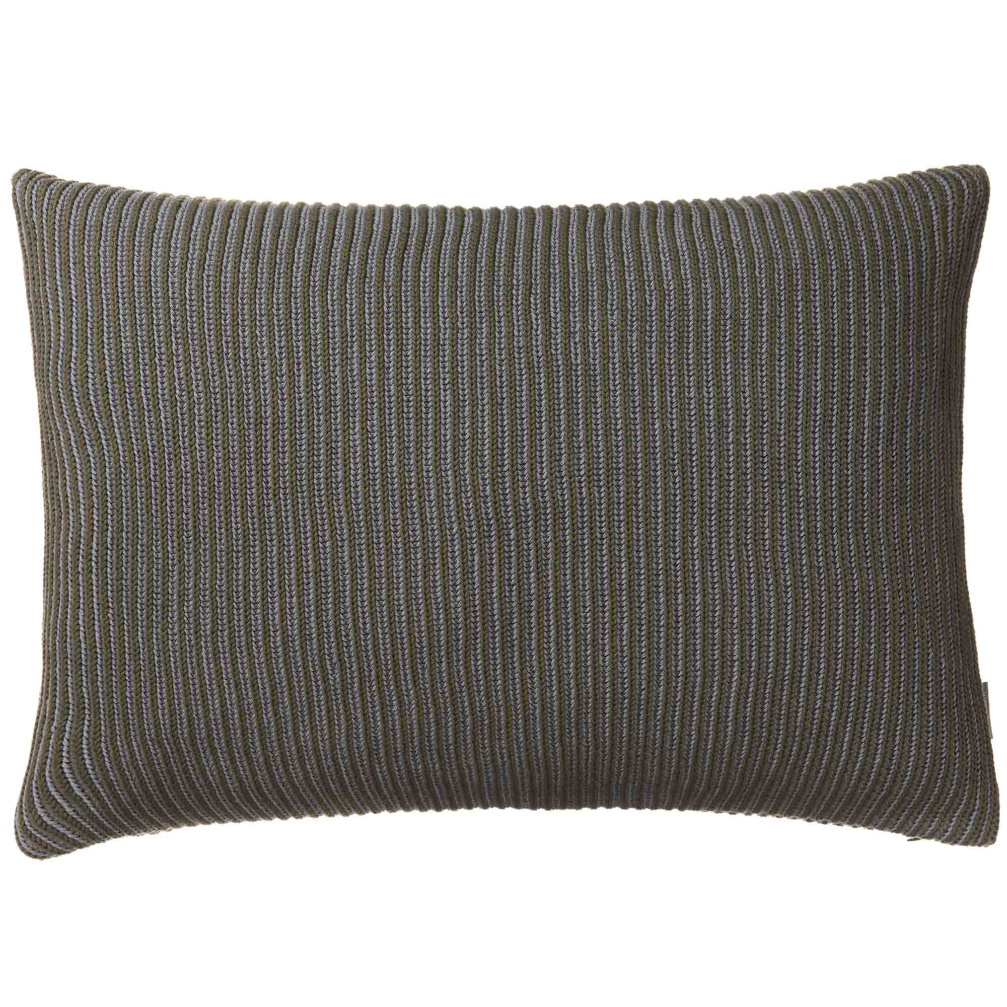 Azoia cushion cover, olive green & silver grey, 100% organic cotton