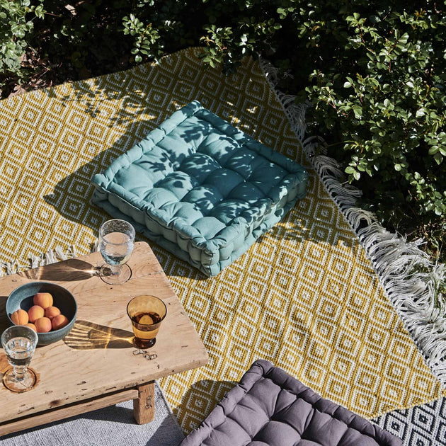 Barota Outdoor Rug in bright mustard & white | Home & Living inspiration | URBANARA