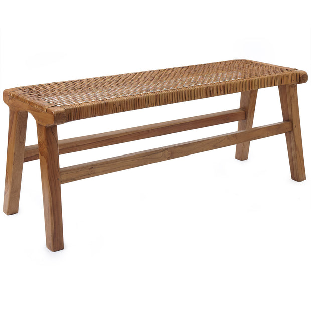 Bakaru Rattan Bench natural, 100% rattan & 100% teak wood | Find the perfect small furniture