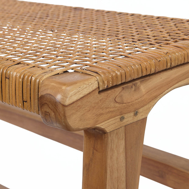 Bakaru Rattan Bench natural, 100% rattan & 100% teak wood | URBANARA small furniture