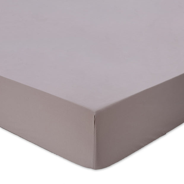 Balaia fitted sheet, stone grey, 100% combed cotton