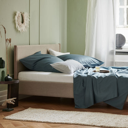 Oufeiro Sateen Bed Linen in pale teal | Home & Living inspiration | URBANARA
