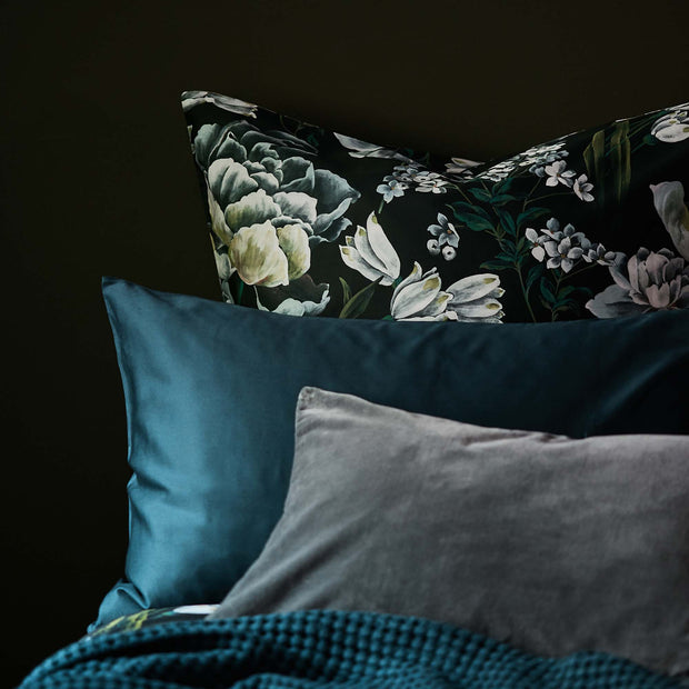 Almadena pillowcase, forest green & multicolour, 100% cotton | URBANARA sateen bedding