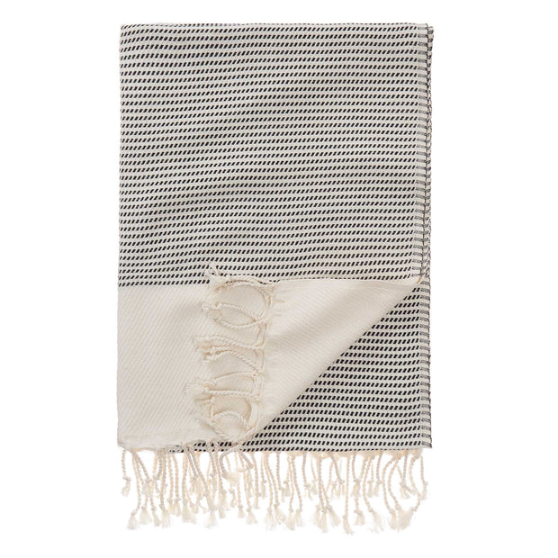 Bolu Hammam Towel black & natural white, 50% bamboo & 50% cotton