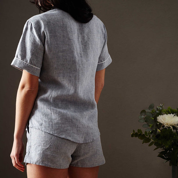 Casaal pyjama, dark grey blue & white, 100% linen & 100% cotton | URBANARA nightwear
