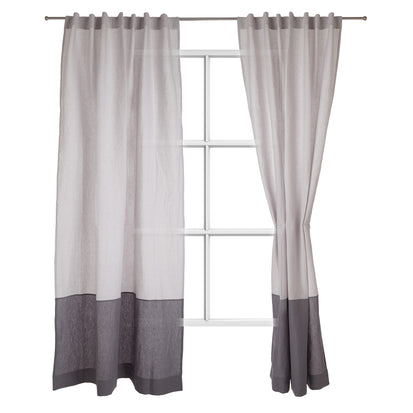 Cataya Linen Curtain light grey & charcoal, 100% linen