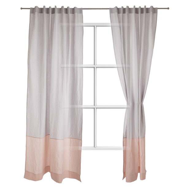 Cataya Linen Curtain light grey & light pink, 100% linen