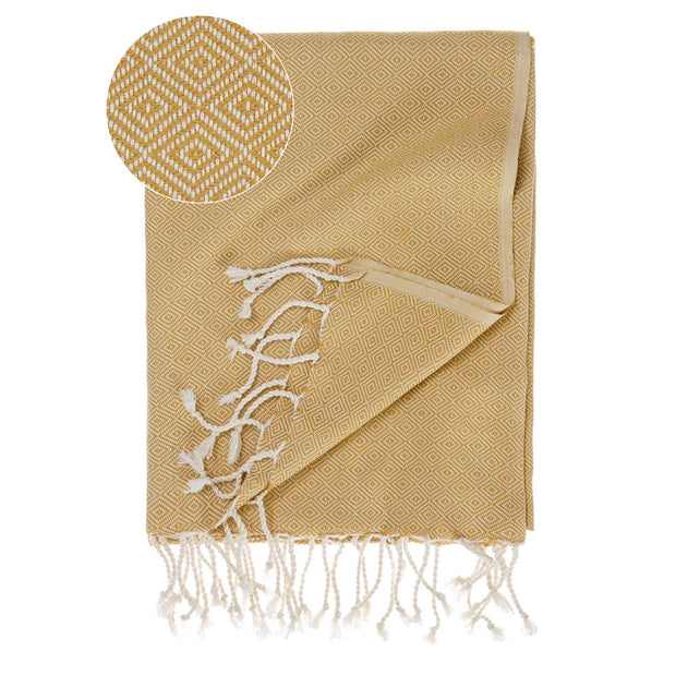 Cesme Hammam Towel mustard & white, 100% cotton
