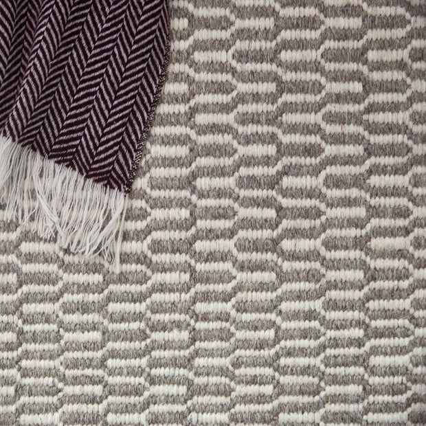 Overod rug, light grey & off-white, 100% new wool & 50% cotton |High quality homewares