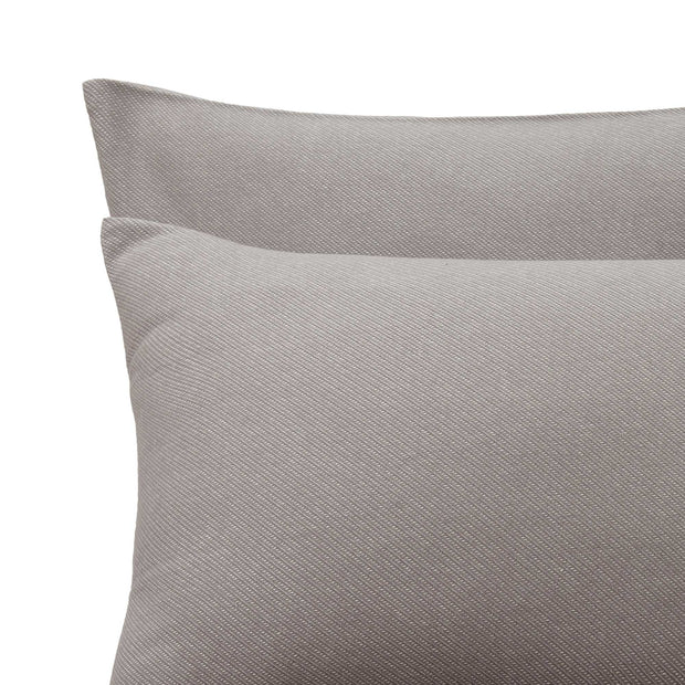 Coelho pillowcase, grey & natural white, 100% cotton | URBANARA flannel bedding