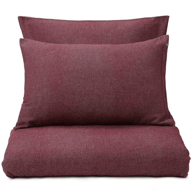 Coelho pillowcase, bordeaux red & natural white, 100% cotton | URBANARA flannel bedding
