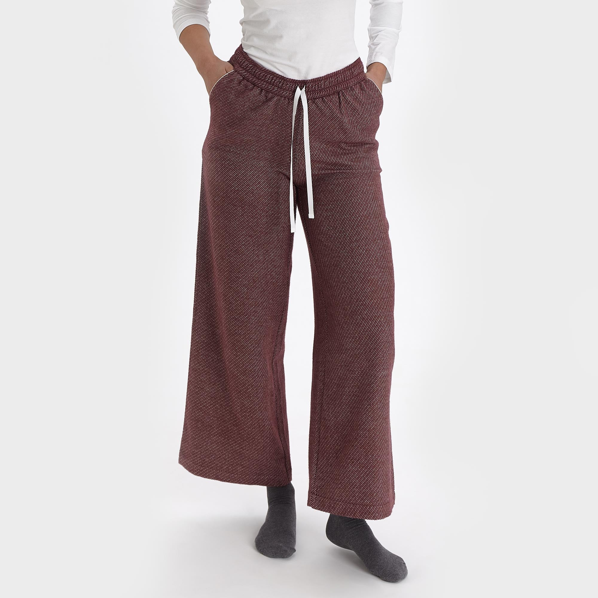 Coja Flannel Pyjama Pants [Bordeaux red/Natural white]