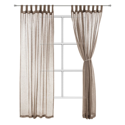 Cotopaxi Curtain Set taupe, 100% linen