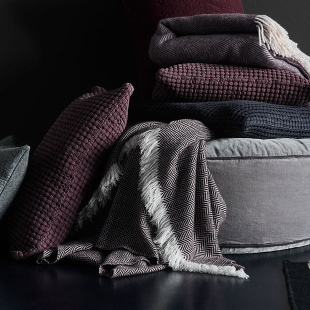 Nerva Cashmere Blanket in bordeaux red & cream | Home & Living inspiration | URBANARA