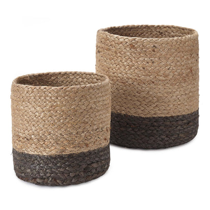 Dasai Basket, Set of 2 natural & charcoal, 100% jute