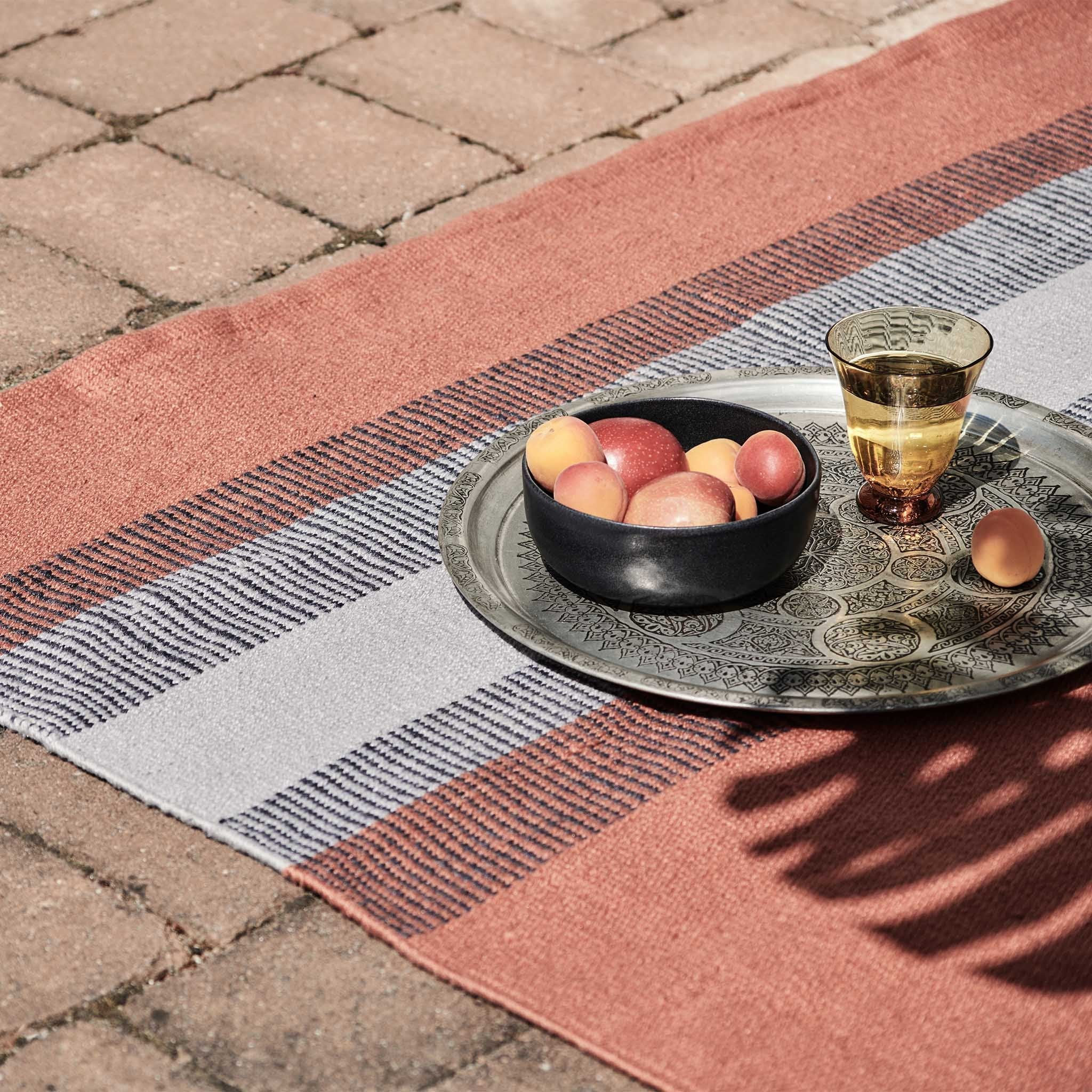 Indari Rug in dark grey blue & pigeon blue & terracotta | Home & Living inspiration | URBANARA