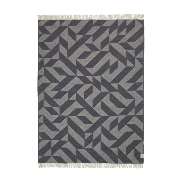Farum Merino Blanket light grey & grey, 100% merino wool | URBANARA wool blankets