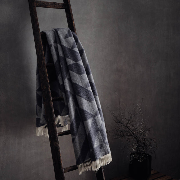 Farum Merino Blanket in light grey & grey | Home & Living inspiration | URBANARA