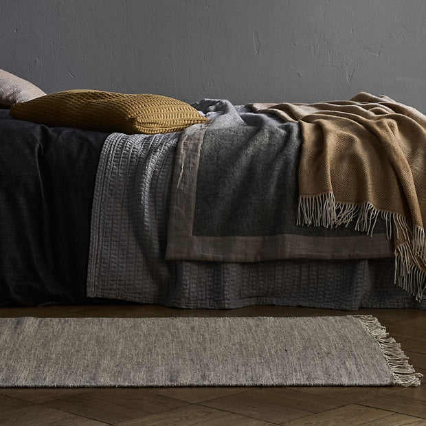 Fyn Wool Blanket mustard & natural, 100% new wool & 100% linen | High quality homewares