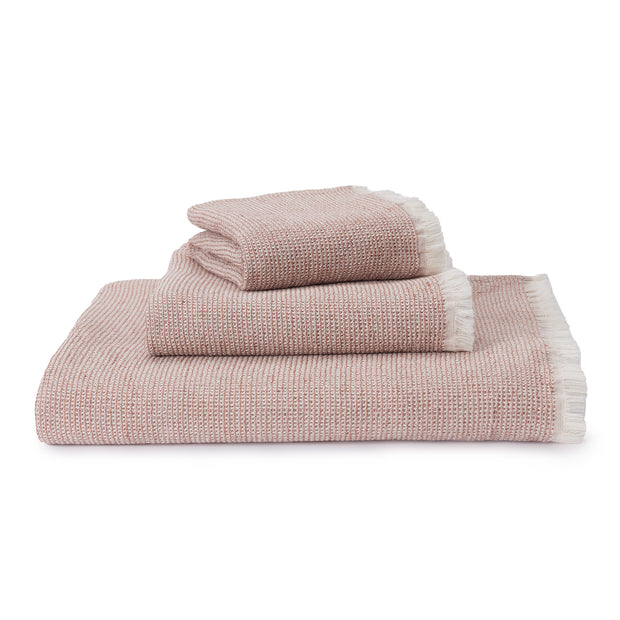 Fraiao Towel rosewood & natural white, 60% cotton & 40% linen