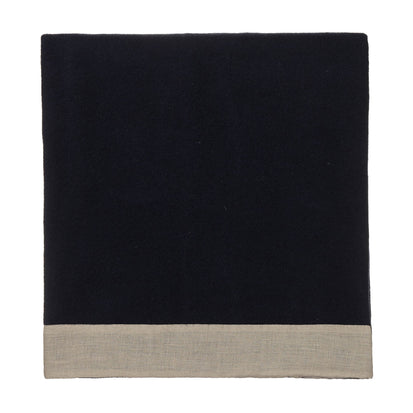 Fyn Wool Blanket dark blue & natural, 100% new wool & 100% linen