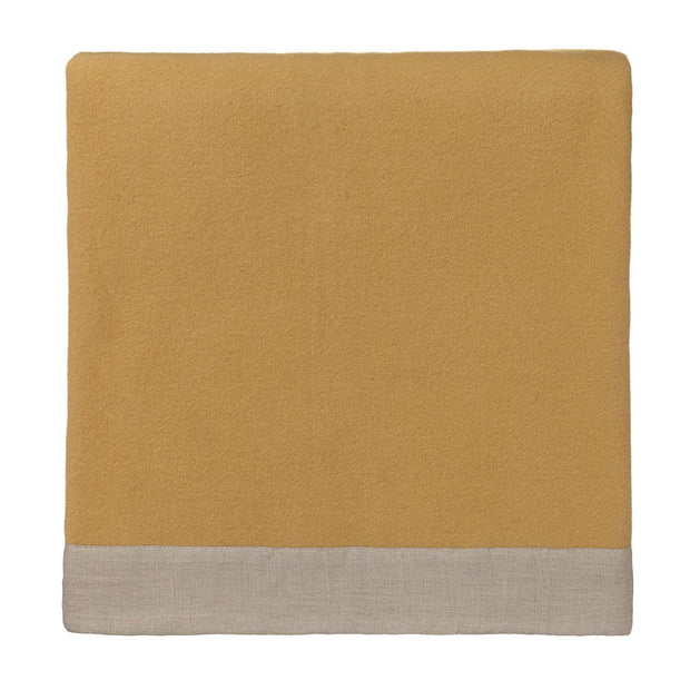 Fyn Wool Blanket mustard & natural, 100% new wool & 100% linen