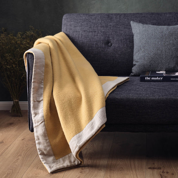Fyn Wool Blanket in mustard & natural | Home & Living inspiration | URBANARA