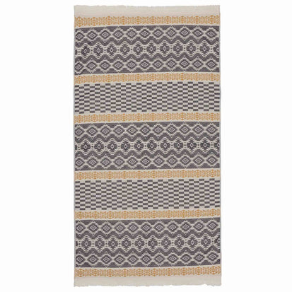 Gilao beach towel, natural white & dark blue & mustard, 100% cotton